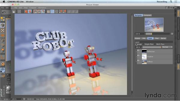 Viewing passes in the Picture Viewer: CINEMA 4D Lite for After Effects: Getting Started