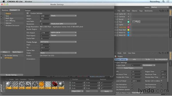 CINEWARE multipass options: CINEMA 4D Lite for After Effects: Getting Started