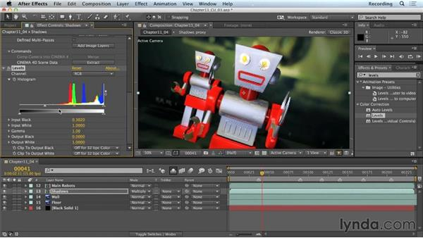 Color correction of shadows: CINEMA 4D Lite for After Effects: Getting Started