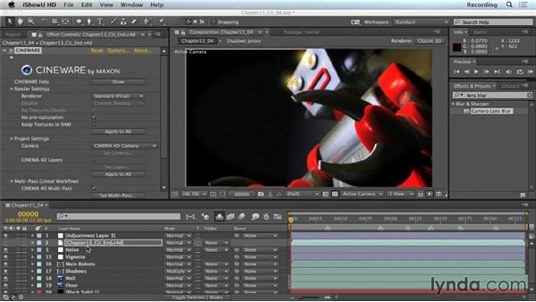 Adding depth of field with camera lens blur: CINEMA 4D Lite for After Effects: Getting Started