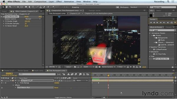 Motion blur with the Pixel Motion Blur effect: CINEMA 4D Lite for After Effects: Getting Started