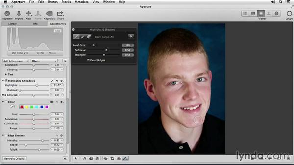 Taming hotspots and shiny areas: Portrait Retouching with Aperture