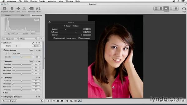 Retouching blemishes: Portrait Retouching with Aperture