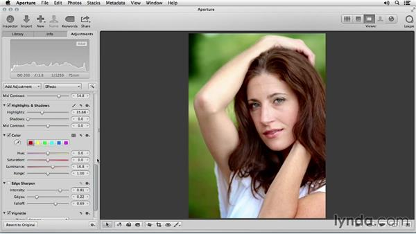 Adjusting hair color and highlights: Portrait Retouching with Aperture