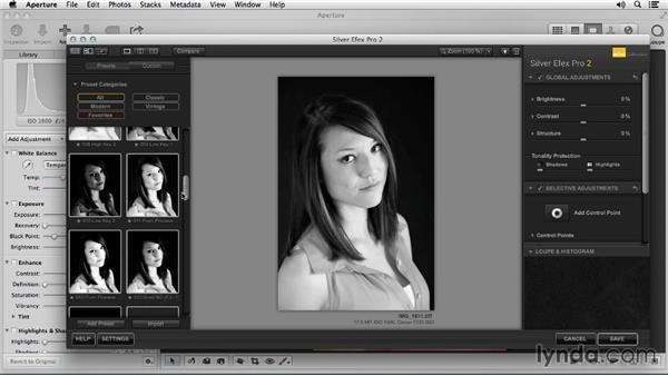 Converting to black and white: Portrait Retouching with Aperture