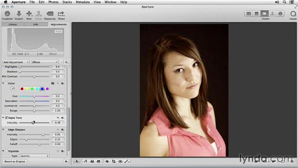 Adding sepia toning: Portrait Retouching with Aperture