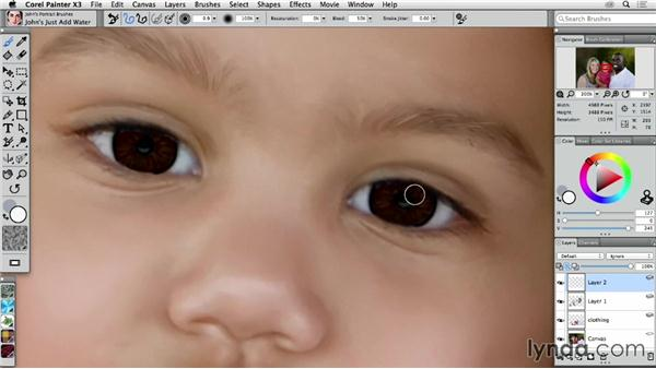 Painting a child's eyes: Digital Painting: Transforming a Portrait