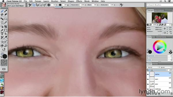 Painting a woman's eyes: Digital Painting: Transforming a Portrait
