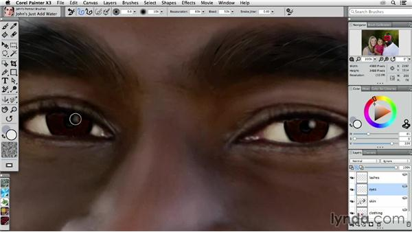 Painting a man's eyes: Digital Painting: Transforming a Portrait