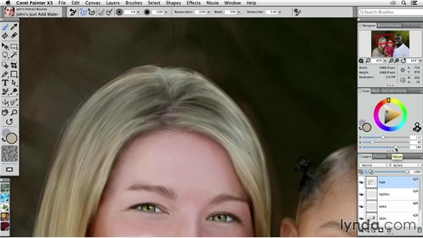 Detailing a woman's hair: Digital Painting: Transforming a Portrait