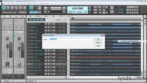 Working with screensets: Up and Running with SONAR X2