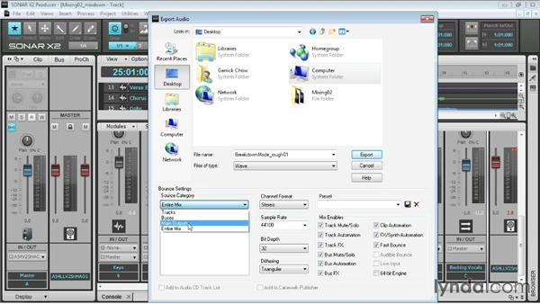 Export options: Up and Running with SONAR X2