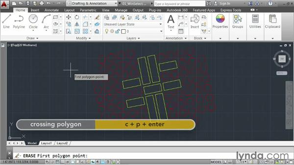 Selecting objects using windows: AutoCAD 2014 Essentials: 03 Editing and Organizing Drawings