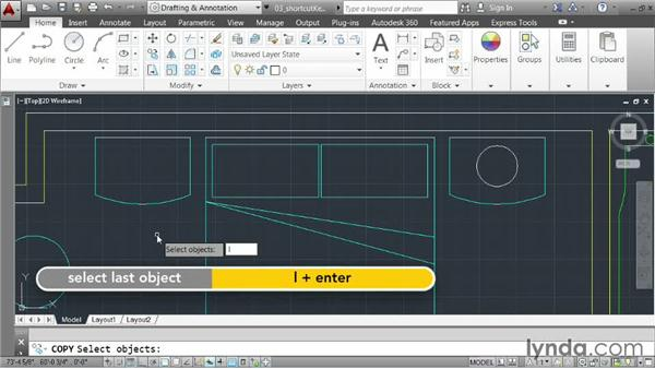 Using keyboard shortcuts: AutoCAD 2014 Essentials: 03 Editing and Organizing Drawings