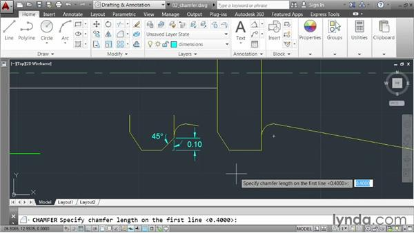 Creating chamfers: AutoCAD 2014 Essentials: 03 Editing and Organizing Drawings