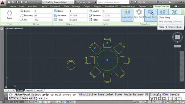 Creating a rotational array: AutoCAD 2014 Essentials: 03 Editing and Organizing Drawings
