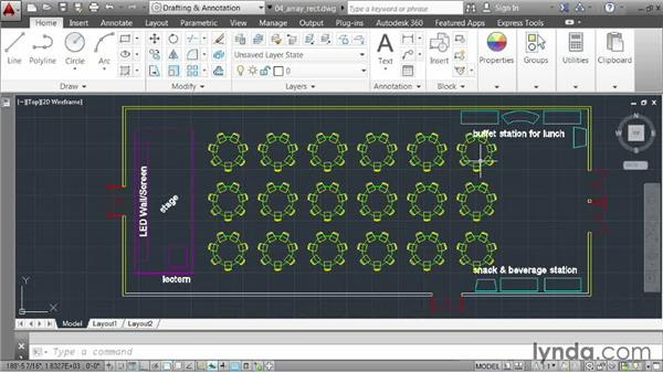 Creating a rectangular array: AutoCAD 2014 Essentials: 03 Editing and Organizing Drawings
