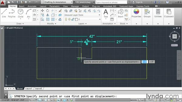 Stretching elements: AutoCAD 2014 Essentials: 03 Editing and Organizing Drawings
