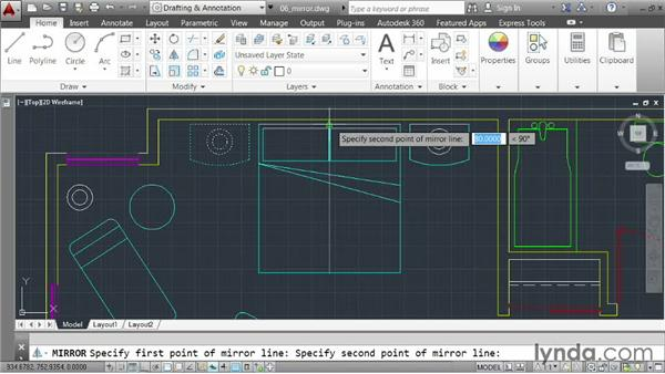 Creating mirrored copies: AutoCAD 2014 Essentials: 03 Editing and Organizing Drawings