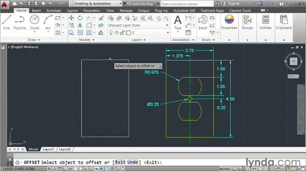 Exploding elements: AutoCAD 2014 Essentials: 03 Editing and Organizing Drawings