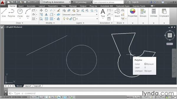 Joining elements together: AutoCAD 2014 Essentials: 03 Editing and Organizing Drawings