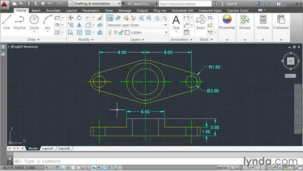 Changing layer states using the Layer control: AutoCAD 2014 Essentials: 03 Editing and Organizing Drawings