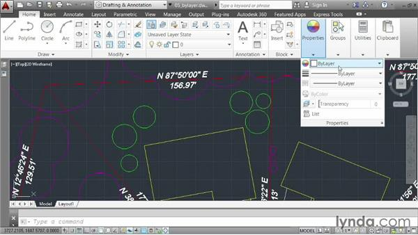 Understanding the ByLayer property: AutoCAD 2014 Essentials: 03 Editing and Organizing Drawings