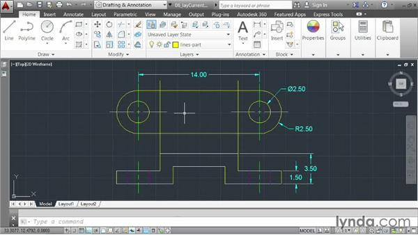 Using existing geometry to set the current layer: AutoCAD 2014 Essentials: 03 Editing and Organizing Drawings