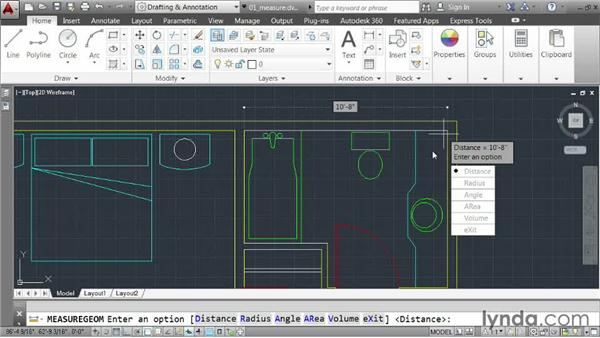 Taking measurements: AutoCAD 2014 Essentials: 03 Editing and Organizing Drawings