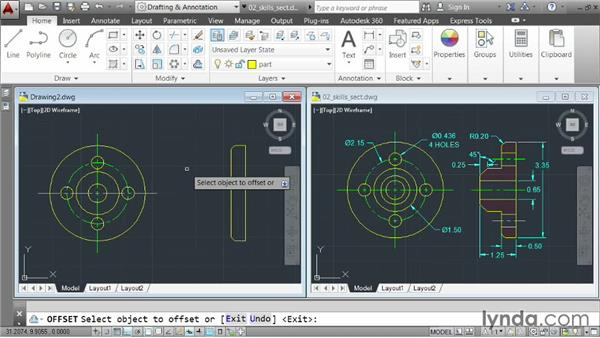 Demo: Constructing a multiview part: AutoCAD 2014 Essentials: 03 Editing and Organizing Drawings
