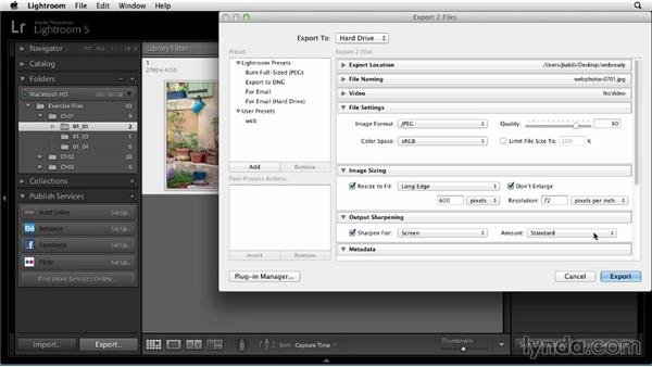 Choosing more export settings: Sharing Photos Online with Lightroom 5