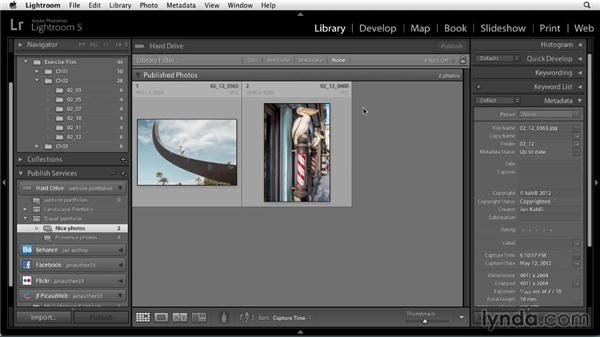 Publishing to a hard drive Publish Service: Sharing Photos Online with Lightroom 5
