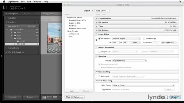 Exporting photos to attach to email: Sharing Photos Online with Lightroom 5