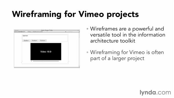 Developing wireframes for site content: Vimeo Projects for Creative Professionals