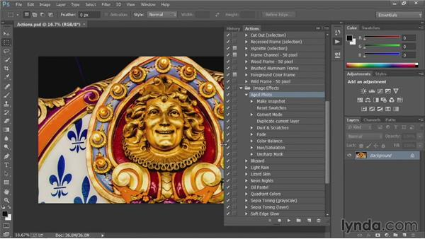 Using the Actions panel: Up and Running with Photoshop Automation