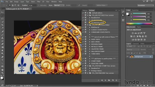 Loading new actions: Up and Running with Photoshop Automation