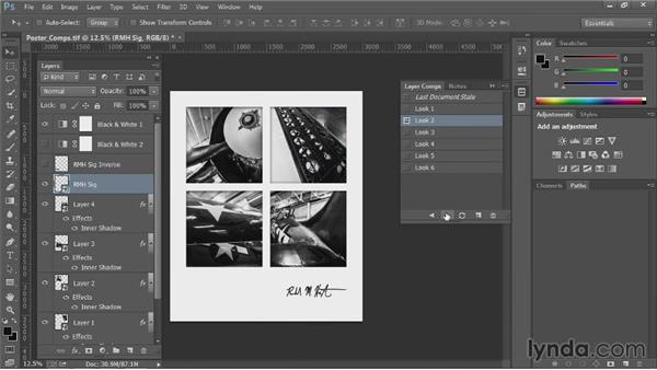 Working with layer comps: Up and Running with Photoshop Automation
