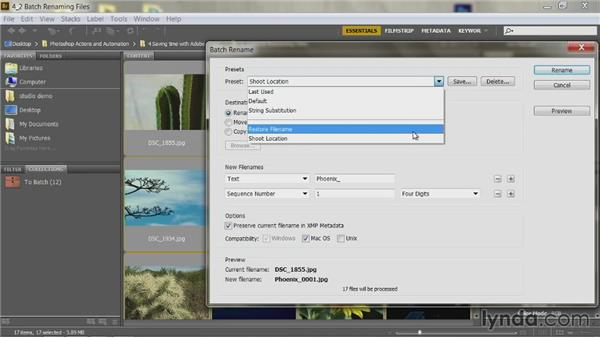 Batch renaming files: Up and Running with Photoshop Automation