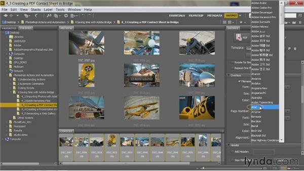 Creating a PDF contact sheet in Bridge CS6: Up and Running with Photoshop Automation