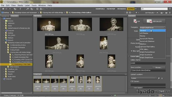 Generating a web gallery: Up and Running with Photoshop Automation