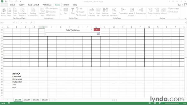 Creating a dropdown list of assignment types: Office for Educators
