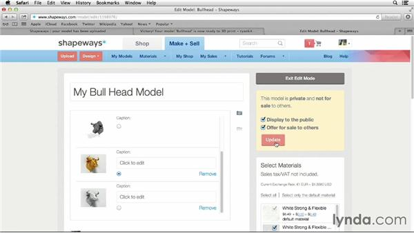 Editing the product page on Shapeways: 3D Printing on Shapeways Using Maya