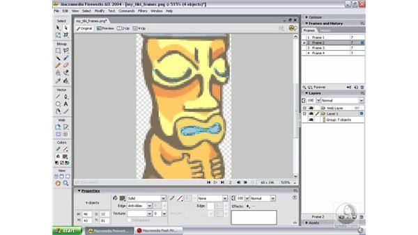 prep tiki art and layout in Fireworks: Studio MX 2004 Web Workflow