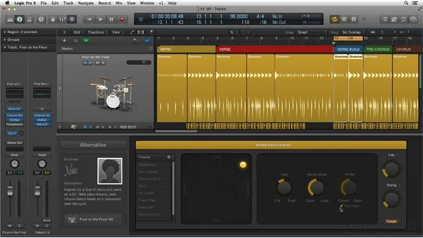 Customizing the feel, ghost note, and hi-hat performance details: New Ways to Create Music with Logic Pro X