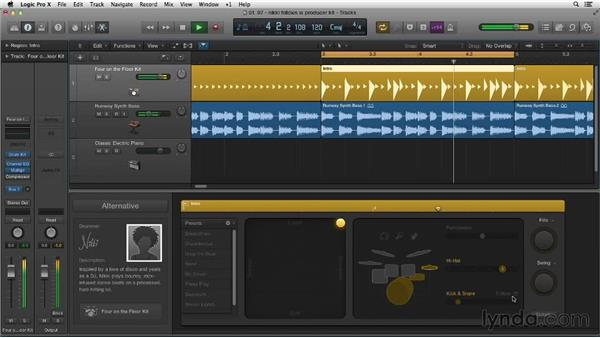 Tightening the kick and snare with Follow Rhythm: New Ways to Create Music with Logic Pro X