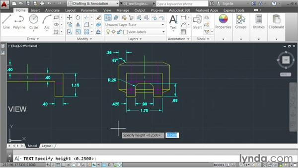 Creating single-line text: AutoCAD 2014 Essentials: 04 Annotating a Drawing