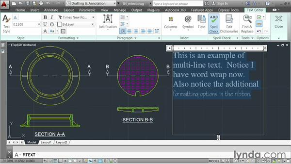 Annotating with multiline text: AutoCAD 2014 Essentials: 04 Annotating a Drawing