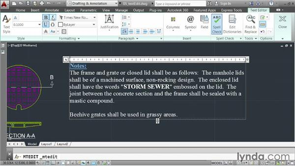 Editing text: AutoCAD 2014 Essentials: 04 Annotating a Drawing