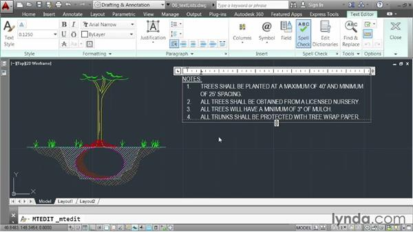 Creating bulleted and numbered lists: AutoCAD 2014 Essentials: 04 Annotating a Drawing