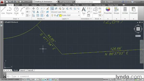 Incorporating symbols: AutoCAD 2014 Essentials: 04 Annotating a Drawing